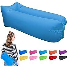 vilisun––Sofá inflable, impermeable exterior de sofá, cómodo portátil Saco de dormir Saco de Asiento de muy resistente. 210d Oxford Cloth para camping, viaje, playa, Park, Jardín, azul