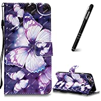 iPhone 6 Plus Case, iPhone 6 Plus Leather Case Wallet, Slynmax 3D Printing Violet Butterfly Design Flip Folio PU Leather Wallet Case Inner Soft TPU Cover with Stand Function Hand Strap Card Holders Magnetic Closure Book Style Shock Resistant Protective Ca