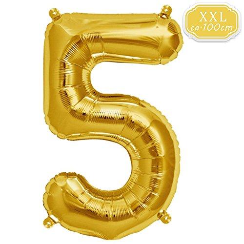 FUNXGO XXL Globos Número , Globo de Helio Gigante Party Festival Decoraciones Aniversario Aniversario Jumbo [0-9] (Dorado [5])