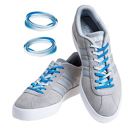 Ganzen Flache Schuhe Frauen (MAXXLACES Flache elastische Schnürsenkel mit einstellbarer Spannung in verschiedenen Farben Schuhbänder ohne Binden komfortable Schuhbinden einfach zu bedienen Past zu jedem Schuh (Blau ombre))