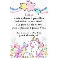 Biglietti Inviti battesimo personalizzati unicorno baby - partecipazioni battesimo o compleanno bimba bimbo diversi modelli set da 10 biglietti