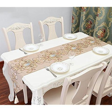 ZB Banderas de lujo clásico europeo cama mesa runner boda toalla de té tela del bordado bordado vintage mesa corredor americano , beige , 240x33cm