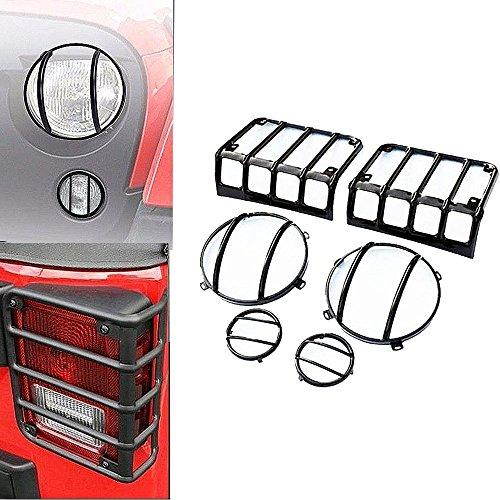 SXMA LED-Lichtabdeckung Guard Kit Stahl Autozubehör LED-Licht Schutzabdeckungen Hood Protect für Rücklicht HeadLight Parkleuchte JK Wrangler & Wrangler Unlimited Guard Hood