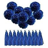 QUCHER 10 Stück Seidenpapier PomPoms DIY Papierblumen Blumenball Dekoration + 10 Stück Papier troddel Quaste Hochzeit/ Geburtstagsfeier / Kindertaufe/ Weihnachten Deko (Dunkelblau)