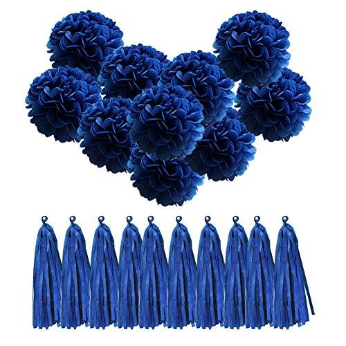 Rosen Auf Nur Dem Papier (QUCHER 10 Stück Seidenpapier PomPoms DIY Papierblumen Blumenball Dekoration + 10 Stück Papier troddel Quaste Hochzeit/ Geburtstagsfeier / Kindertaufe/ Weihnachten Deko (Dunkelblau))