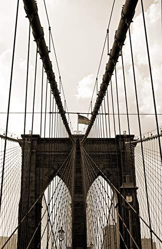 Fototapete selbstklebend New York Bridge I - sephia 180x270 cm - Bildertapete Fotoposter Poster - Brücke Brooklyn Bridge Amerika Architektur - Brooklyn Bridge, Suspension Bridge