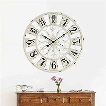 Belle horloge murale de mode Creative Industrial Wind Fashion Personality Simple Grand Retro Fer Horloge murale Montres Décoration et horloges Mute Horloge 76 * 76cm YANGFF-Pendules murales