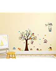 Solimo Wall Sticker for Kids' Room (Monkeys & Owls, ideal size on wall : 155 cm X 110 cm)