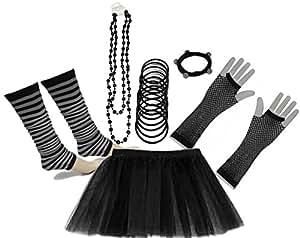 A-Express Neon Tutu Skirt Legwarmer Gummies Beads Hen Fancy Dress Party Costumes Set - Black Size 8 To 16