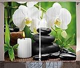 ABAKUHAUS Spa Panneaux de Rideaux, Pierres de Massage Zen Chaudes avec des Bougies D'Orchidées Et Magnifiques, Coleurs Clairs Deux Panel Set, 280 x 260 cm, Noire