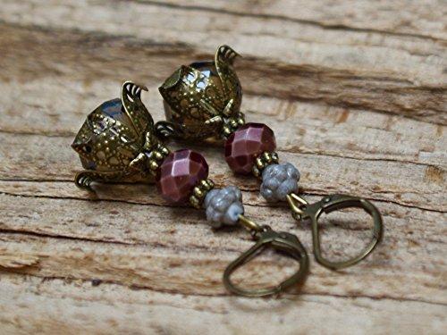 Vintage Ohrringe mit Glasperlen – grau, braun & bronze - 4