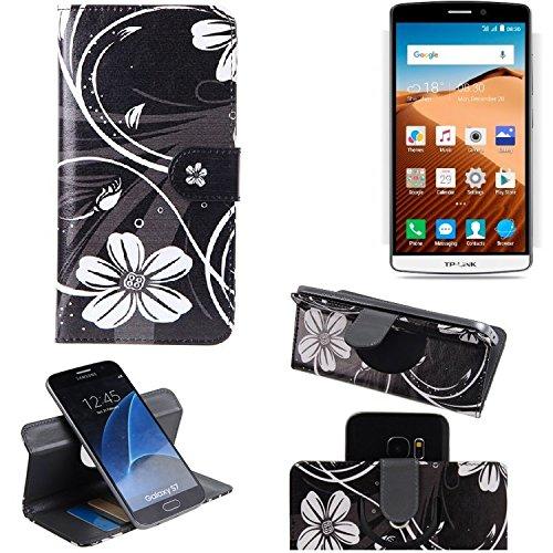 K-S-Trade Schutzhülle für TP-LINK Neffos C5 Max Hülle 360° Wallet Case Schutz Hülle ''Flowers'' Smartphone Flip Cover Flipstyle Tasche Handyhülle schwarz-weiß 1x