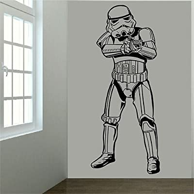 Grand sticker mural pour chambre d'enfant Motif Star Wars Stormtrooper Hauteur 1 m