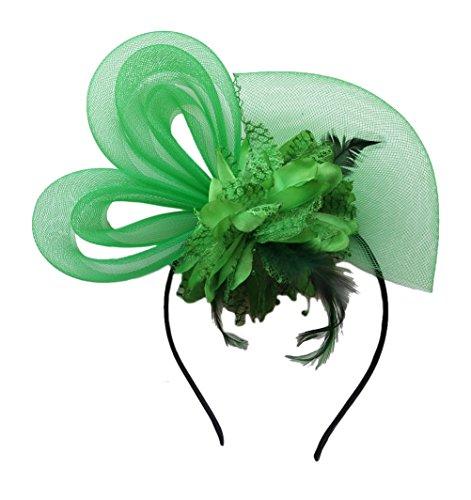 Damen Fascinator Haarspange Cocktail Kopfbedeckung Brautkopfschmuck Hairpin Mesh Blume Haarspange (Dunkelgrün)