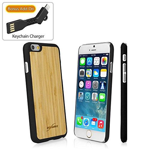 Iphone 6case, boxwave® [vero bambù minimus custodia con caricabatterie portachiavi bonus] realizzato a mano, in vero legno di alta qualità per apple iphone 6, 6s–jet black