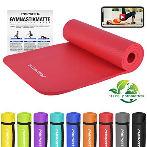 MSPORTS Gymnastikmatte Premium inkl. Übungsposter + Tragegurt + Workout App GRATIS | Hautfreundliche - Phthalatfreie Fitnessmatte - Rubinrot - sehr weich - extra dick - 190 x 60 x 1,5 cm Yogamatte