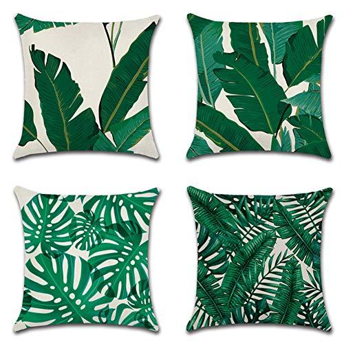Jotom fodera per cuscino in cotone e lino astratta modello geometrico federa per divano casa soggiorno camera da letto decorazione per interni, 45x45cm, set di 4 pezzi(foglia verde)