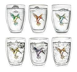Creano doppelwandige Tee-Gläser, Cappuccino-Glas, Thermoglas Hummi im Kolibri Design, 6er Set, 250 ml in exklusiver Geschenkbox, blau/rot/grün/gelb/lila/orange
