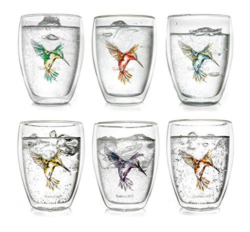Tasse de thé à double paroi ''Hummi'' Creano, Latte Macchiato, verre isotherme avec colibri dans un ensemble de 6, 250ml, dans les couleurs bleu / rouge / vert / orange / violet / jaune
