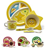 Vajilla infantil de bambú juego de vajilla infantil de cubertería cuenco para cereales vasos plato para niño apto para lavavajillas. Estrella de Mar