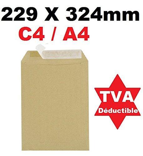 Lot de 50 Grande enveloppe pochette courrier A4 - C4 papier kraft MARRON 90g format 229 x 324 mm Pochette kraft brune auto-adhésive fermeture bande adhésive autocollante siliconée UGENVC4M