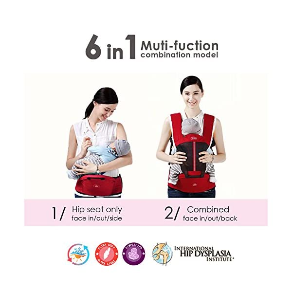SONARIN Multifunctional Breathable Hipseat Baby Carrier,Front and Back,Breathable mesh Backing,Ergonomic,One Size Fits All,6 Carrying Positions,100% Infinity Guarantee,Ideal Gift(Brown) SONARIN Applicable age and Weight:0-36 months of baby, the maximum load: 20KG, and adjustable the waist size can be up to 44.9 inches (about 114cm). Material:designers choose comfortable and cool 100% cotton fabric. External use of 3D breathable mesh material, all-round breathable design, 15mm soft cushion, to the baby comfortable and safe experience. Side with small pockets so that you can put some daily necessities when you go outside. Description: EPP seat core, no deformation, baby sitting more comfortable.patented design of the auxiliary spine micro-C structure and leg opening design, natural M-type sitting. Widen the shoulder strap and belt will be effective to disperse the baby's weight to the shoulder and waist, so that mother more effort. 8