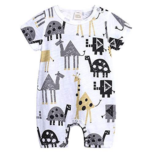 JUNMAONO Comic Giraffe Muster Baby Strampler Neugeborenen Sommer Onesies Pyjamas Rundhals Pullover Lose Kurze Ärmel Schlafstrampler Schlafanzug Jungen Mädchen Spielanzug Overall Babykleidung