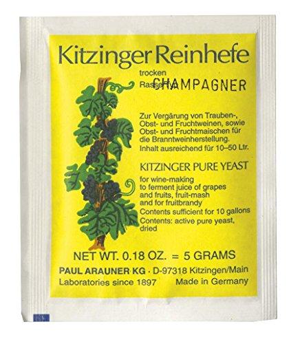 WEINHEFE CHAMPAGNE Arauner Kitzinger - Trocken Reinhefe für 50L | Naturhefe | Obstwein hefe | Hefenährsalz | Alkoholhefe | Methefe | Apfelweinhefe