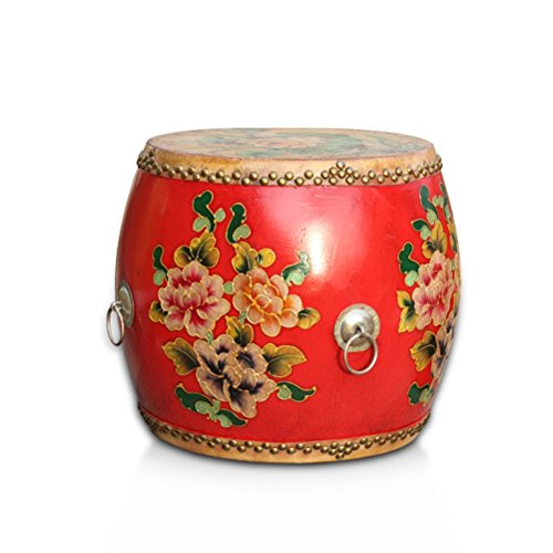 TANG CHAO Hocker Hocker Kuhfell Trommelstuhl Antique Painted Schlagzeug Holz Freizeit Tee Hocker Personality Hocker Classical Dressing Hocker Stühle