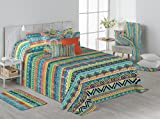 Stilia. Colcha Bouti de Verano Estampada Multicolor con Fundas de Cojín. Boho (Cama 90 (180x270...