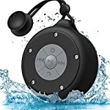 AOOE Portable Shower Speaker Waterproof Bluetooth4.0 Wireless Bathroom Speaker 5W Powerful Driver 12 Hours Playback Built-in Microphone, Suction Cup and Buckle for Shower or Outdoor (Black)