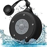 AOOE tragbare Bluetooth Lautsprecher wasserdicht Dusche Lautsprecher 5W Außenlautsprecher mit Freisprechfunktion mit Saugnapf und praktischer Schnalle für Outdoor, Dusche (Schwarz)