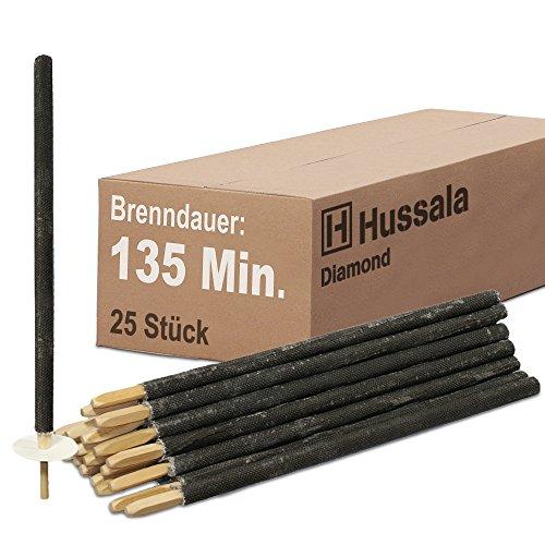 Hussala - Diamond Wachsfackeln Brennzeit 135 min Garten-Fackeln [25 Stück]