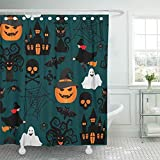 WENEOO LA Shower Curtain Set Waterproof Adjustable Polyester Fabric Green Ghost Halloween Crafts for Orange Abstract Autumn Bat Black Cat Character 60