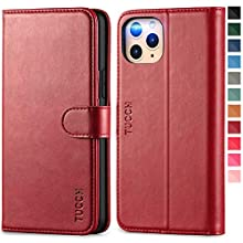 TUCCH iPhone 11 Pro Wallet Case, Magnetic Auto Wake/Sleep RFID Blocking Protection[TPU Shockproof Interior Case], PU Leather Card Holder Stand Flip Cover Compatible with iPhone 11 Pro(5.8), Dark Red