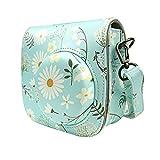 Alohallo Instax Mini 8 / 8+ Kamera PU Leder Carring Tasche für Fujiflim Instax Mini 8 mit Schultergurt und Tasche - Chrysantheme