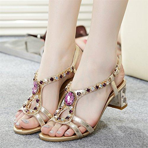 Lgk & fa estate sandali da donna estate sandali con scarpe moda diamante diamante cristallo con grossolana Dichotomanthes Bottom, 34 pale gold 35 pale gold