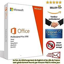 Microsoft Office 2016 Professional Plus pour 1PC (Windows)   Licence et téléchargement   Licence perpétuel   Pas d'abonnement   Licence numérique originale Envoyé dans un jour par e-mail depuis Amazon