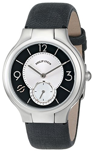 Philip Stein Women's 41-MBW-CMB Stainless Steel Watch with Metallic Black Leather Band