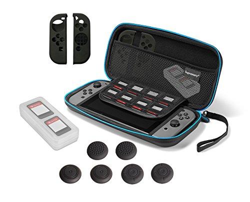 Odyssey Docking-station (Nintendo Switch Hülle - Supremery Tasche Case mit Zubehör Set - Spiele Hülle, Joy Con Gel Protector und Thumb Grip Caps Snipperclips Aufsätze für die Analogsticks)