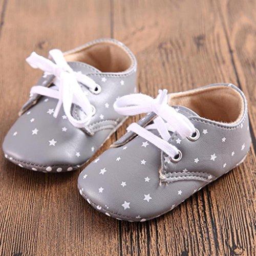 Hunpta Babymädchen oder junge Schnürung Leder Sneaker rutschfest weiche Sohle Kleinkind (Alter: 12 ~ 18 Monate, Grey) Grey