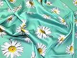 Floral Print Seidiger Satin Kleid Stoff mint