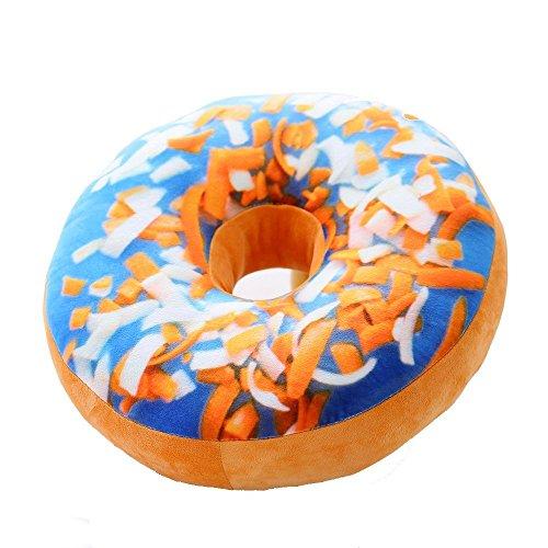 niceEshop(TM) Mignon Coussin Décoratif en Peluche sous Forme de Donut pour Canapé, Voiture et Voyage (Bleu et Orange)
