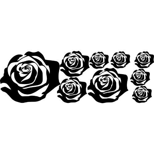 Juego de 8rosa, tamaños 1X 23cm, 2x12cm, 1x16cm, 4x 7cm de elegir color 18colores en stock coche capó Tatto, coche adorno, Tribal Tatto, coche vinilo, rosas, flores, ThatVinylPlace