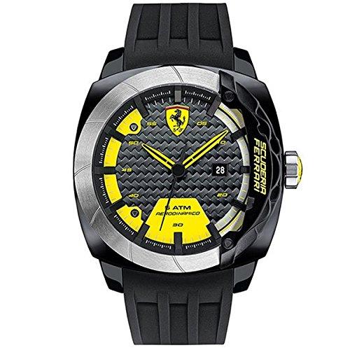 Ferrari Scuderia Aerodinamico Homme 46mm Noir Silicone Bracelet Montre 0830204
