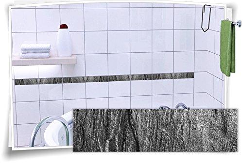 Fliesenaufkleber Fliesenbordüre Bordüre Fliesen Granit Mramor Stein Aufkleber, 20 Stück, 25x6,5cm (BxH)