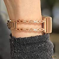fitjewels Infinity Bangle compatible with Fitbit Charge 3 fitness tracker - Rose Gold finish