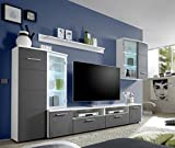 AVANTI TRENDSTORE KIMO- Parete da soggiorno con illiminazione LED in ottica di seta grigia e bianco d'imitazione, ca. LAP 300x200x45 cm immagine