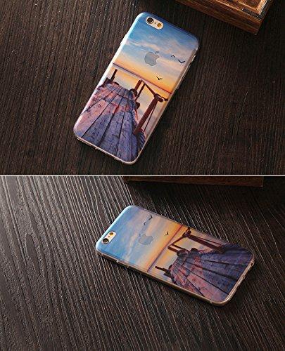 Sunroyal iPhone 6 Plus 6S Plus (5.5 Zoll) Hülle Blau Blue TPU Case Schutzhülle Silikon Rückseite Klar Clear Case Durchsichtig Bumper Zurück Bling Crystal Kirstall Diamant Strass Rhinestone Frame Rahme Kreativ 09