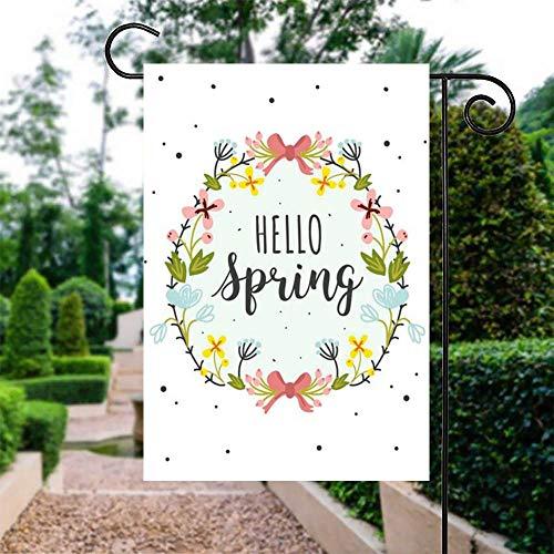 """Promini Gartenflagge Hello Spring Garten Fahne Outdoor Hofflagge Vertikal doppelseitig doppelt genäht, Polyester, Multi, 28\"""" x 40\"""" / 71cm x 102cm"""